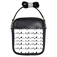 Black And White Wavy Stripes Pattern Girls Sling Bags by dflcprints