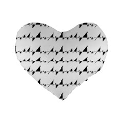 Black And White Wavy Stripes Pattern Standard 16  Premium Flano Heart Shape Cushions by dflcprints