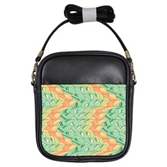 Emerald And Salmon Pattern Girls Sling Bags by linceazul
