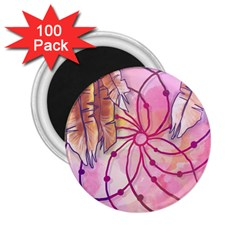 Watercolor Cute Dreamcatcher With Feathers Background 2 25  Magnets (100 Pack)  by TastefulDesigns