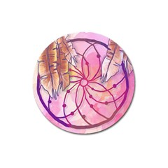 Watercolor Cute Dreamcatcher With Feathers Background Magnet 3  (round) by TastefulDesigns