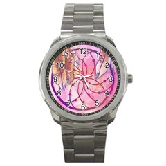 Watercolor Cute Dreamcatcher With Feathers Background Sport Metal Watch by TastefulDesigns