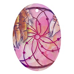Watercolor Cute Dreamcatcher With Feathers Background Oval Ornament (two Sides) by TastefulDesigns