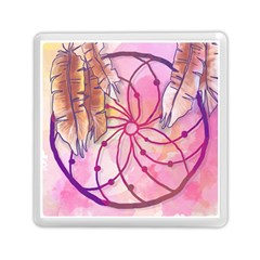 Watercolor Cute Dreamcatcher With Feathers Background Memory Card Reader (square)  by TastefulDesigns