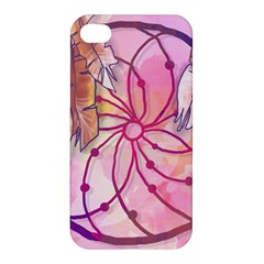 Watercolor Cute Dreamcatcher With Feathers Background Apple Iphone 4/4s Premium Hardshell Case by TastefulDesigns
