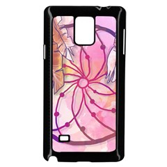 Watercolor Cute Dreamcatcher With Feathers Background Samsung Galaxy Note 4 Case (black) by TastefulDesigns