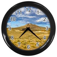 Patagonian Landscape Scene, Argentina Wall Clocks (black) by dflcprints