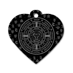 Witchcraft Symbols  Dog Tag Heart (one Side) by Valentinaart