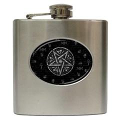 Witchcraft Symbols  Hip Flask (6 Oz) by Valentinaart