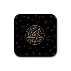 Witchcraft Symbols  Rubber Square Coaster (4 Pack)  by Valentinaart