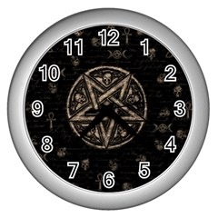 Witchcraft Symbols  Wall Clocks (silver)  by Valentinaart