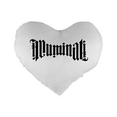Illuminati Standard 16  Premium Flano Heart Shape Cushions by Valentinaart