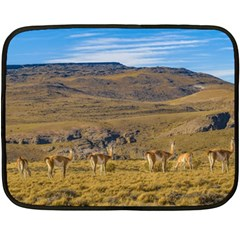 Group Of Vicunas At Patagonian Landscape, Argentina Fleece Blanket (mini) by dflcprints