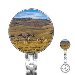 Group Of Vicunas At Patagonian Landscape, Argentina Stainless Steel Nurses Watch by dflcprints