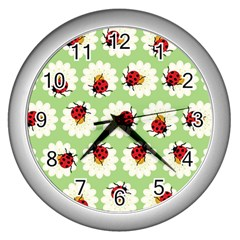 Ladybugs Pattern Wall Clocks (silver)  by linceazul