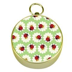 Ladybugs Pattern Gold Compasses by linceazul