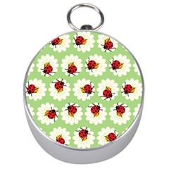 Ladybugs Pattern Silver Compasses by linceazul
