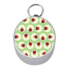 Ladybugs Pattern Mini Silver Compasses by linceazul