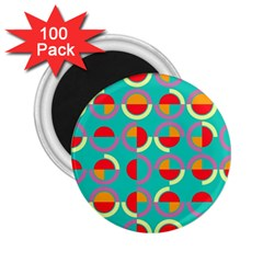 Semicircles And Arcs Pattern 2 25  Magnets (100 Pack)  by linceazul