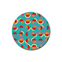 Semicircles And Arcs Pattern Rubber Round Coaster (4 Pack)  by linceazul