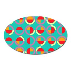 Semicircles And Arcs Pattern Oval Magnet by linceazul