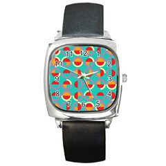 Semicircles And Arcs Pattern Square Metal Watch by linceazul