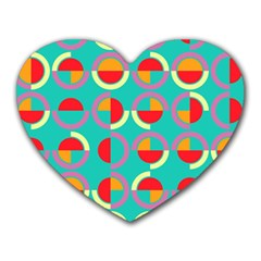 Semicircles And Arcs Pattern Heart Mousepads by linceazul