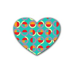 Semicircles And Arcs Pattern Rubber Coaster (heart)  by linceazul