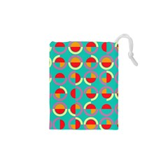 Semicircles And Arcs Pattern Drawstring Pouches (xs)  by linceazul