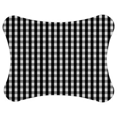 Small Black White Gingham Checked Square Pattern Jigsaw Puzzle Photo Stand (Bow)