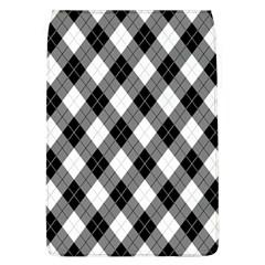 Argyll Diamond Weave Plaid Tartan in Black and White Pattern Flap Covers (L)  by PodArtist