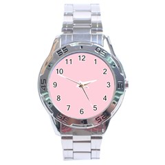 Light Soft Pastel Pink Solid Color Stainless Steel Analogue Watch