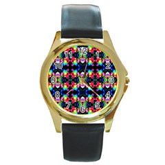 Colorful Bright Seamless Flower Pattern Round Gold Metal Watch by Costasonlineshop
