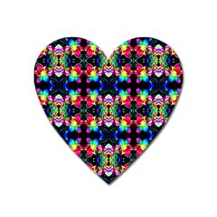 Colorful Bright Seamless Flower Pattern Heart Magnet by Costasonlineshop