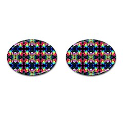 Colorful Bright Seamless Flower Pattern Cufflinks (oval) by Costasonlineshop