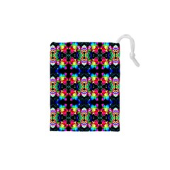 Colorful Bright Seamless Flower Pattern Drawstring Pouches (XS)  by Costasonlineshop