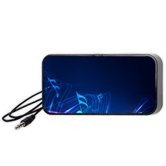 Abstract Musical Notes Purple Blue Portable Speaker (black) by Mariart