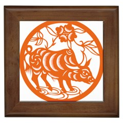 Chinese Zodiac Cow Star Orange Framed Tiles by Mariart