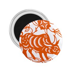Chinese Zodiac Cow Star Orange 2 25  Magnets by Mariart