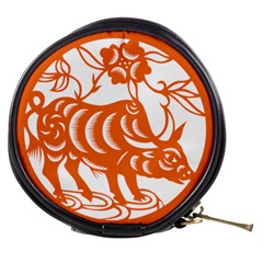 Chinese Zodiac Cow Star Orange Mini Makeup Bags by Mariart