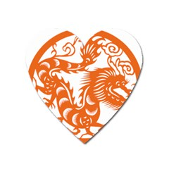 Chinese Zodiac Dragon Star Orange Heart Magnet by Mariart