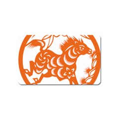 Chinese Zodiac Horoscope Horse Zhorse Star Orangeicon Magnet (name Card) by Mariart
