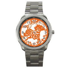 Chinese Zodiac Horoscope Horse Zhorse Star Orangeicon Sport Metal Watch by Mariart