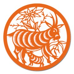 Chinese Zodiac Goat Star Orange Magnet 5  (round) by Mariart