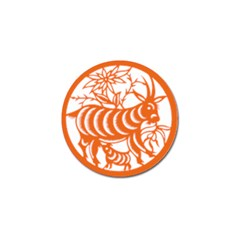 Chinese Zodiac Goat Star Orange Golf Ball Marker by Mariart