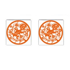 Chinese Zodiac Horoscope Monkey Star Orange Cufflinks (square) by Mariart