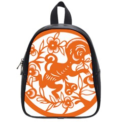 Chinese Zodiac Horoscope Monkey Star Orange School Bags (small)  by Mariart