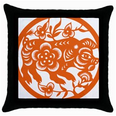 Chinese Zodiac Horoscope Pig Star Orange Throw Pillow Case (black) by Mariart