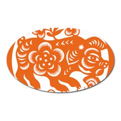 Chinese Zodiac Horoscope Pig Star Orange Oval Magnet by Mariart