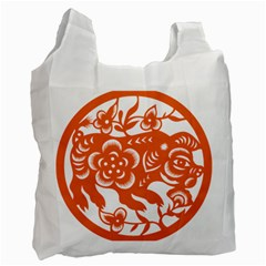 Chinese Zodiac Horoscope Pig Star Orange Recycle Bag (two Side)  by Mariart